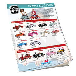 Retro Roller leaflet with metal ride-on cars