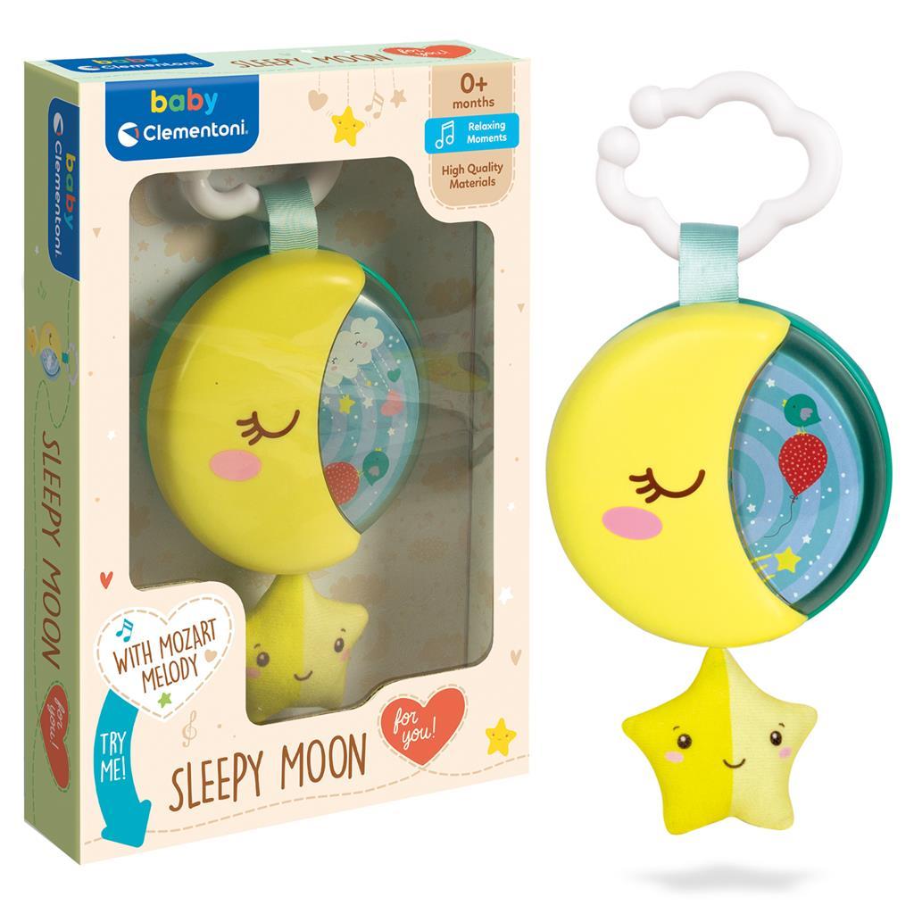 Baby Clementoni-საწოლზე დასაკიდი მუსიკალური ყვითელი მთვარე